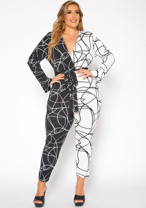 Asoph Plus Size Twisted Fantasy Print Bodycon Jumpsuit