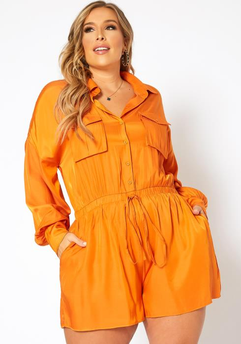 Asoph Plus Size Collar Neck Long Sleeve Romper