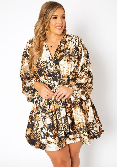 Asoph Plus Size Tigers Eye Print Fit & Flare Mini Dress