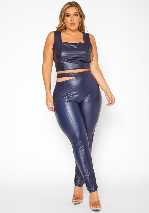 Asoph Plus Size Pleather Crop Top & Side Cut Pants Set