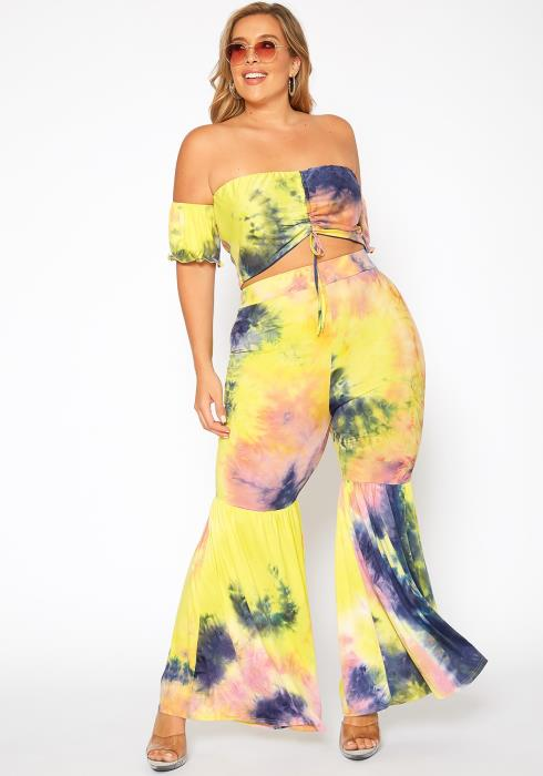 Asoph Plus Size Tie Dye Crop Top & Bell Bottom Pants Set