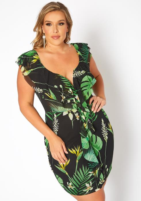 Asoph Plus Size Island Leaf Print Bodycon Mini Dress