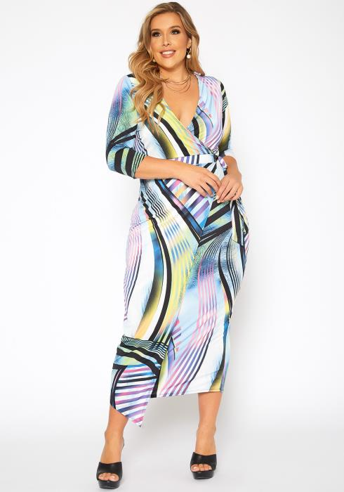 Asoph Plus Size Night In Miami Print Wrap Maxi Dress