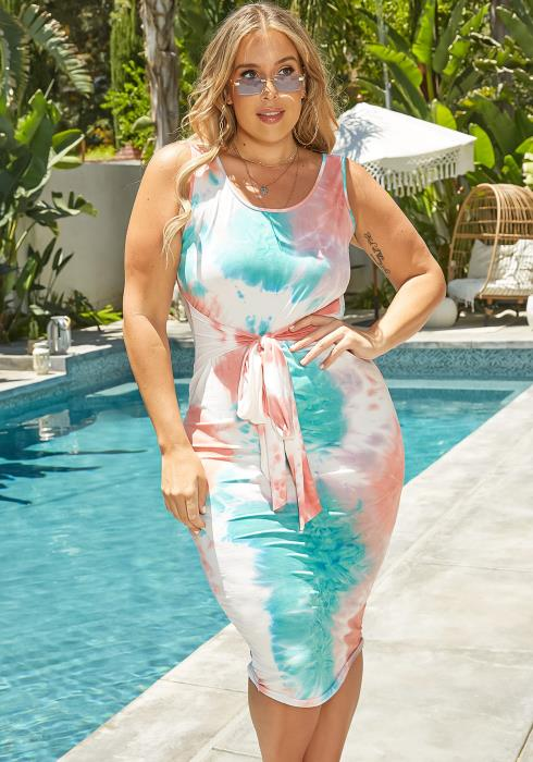 Asoph Plus Size Belted Tie Dye Bodycon Midi Dress