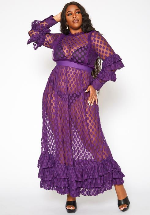 Asoph Plus Size Polka Dot Mesh Flare Maxi Dress