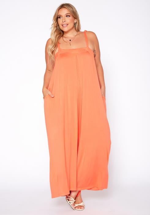 Asoph Plus Size Relaxed Fit Wide Flare Jumpsuit