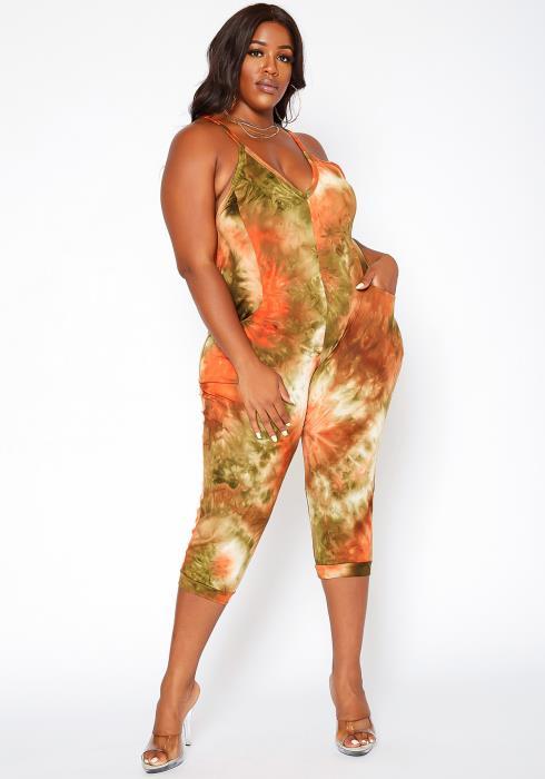 Asoph Plus Size Tie Dye Capri Jumpsuit