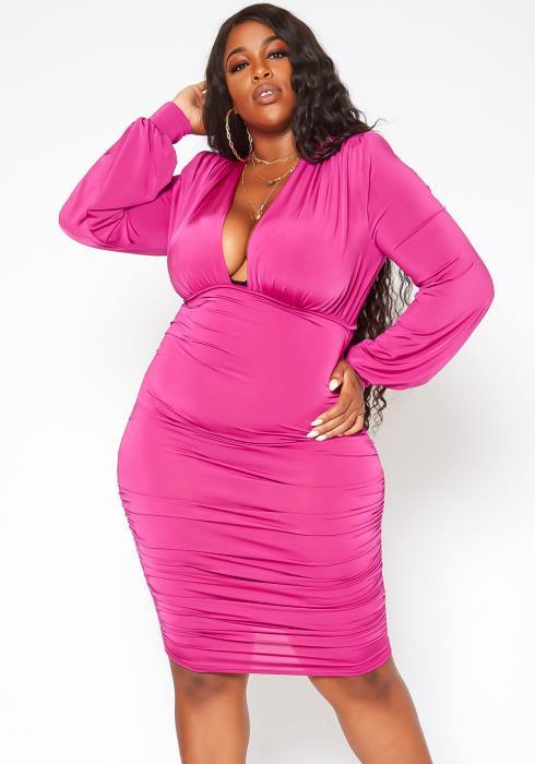 Asoph Plus Size Ruched Long Sleeve Mini Dress