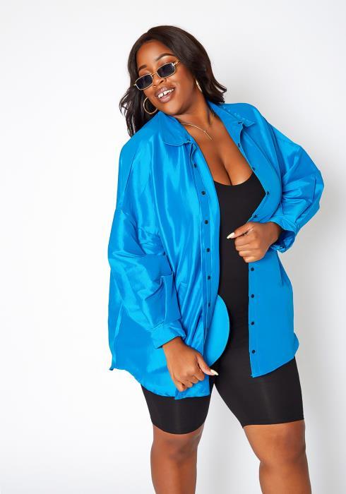 Asoph Plus Size Oversized Collar Jacket