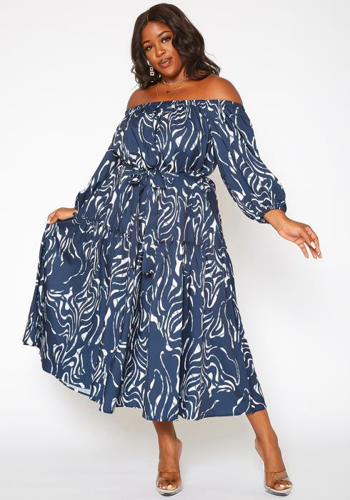 Asoph Plus Size Zebra Print Off Shoulder Flare Maxi Dress