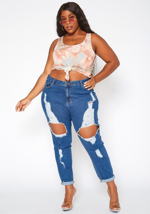 Asoph Plus Size Distressed Dark Denim Mom Jeans