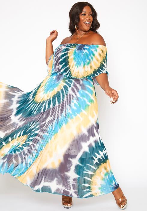Asoph Plus Size Tie Dye Pleated Maxi Dress