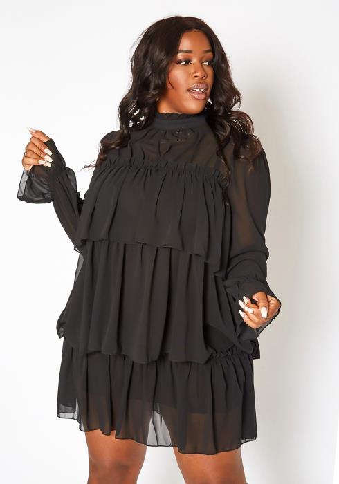 Asoph Plus Size Ruffle Tiered Long Sleeve Mini Dress