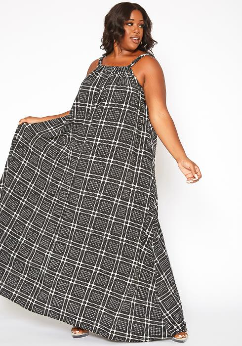 Asoph Plus Size Houndstooth Plaid Maxi Flare Dress