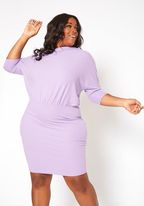 Asoph Plus Size Ribbed Dolman Sleeve Mini Dress