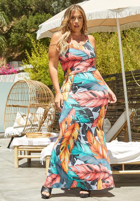 Asoph Plus Size Leaf Print Fit & Flare Maxi Dress