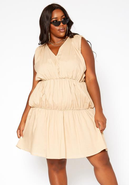 Asoph Plus Size Tiered Puffy Flare Mini Dress