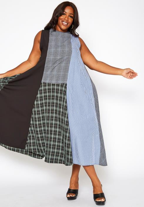Asoph Plus Size Plaid Print Patchwork Flare Maxi Dress
