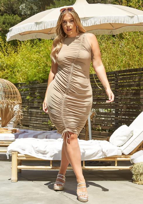 Asoph Plus Size Drawstring Hem Bodycon Mini Dress