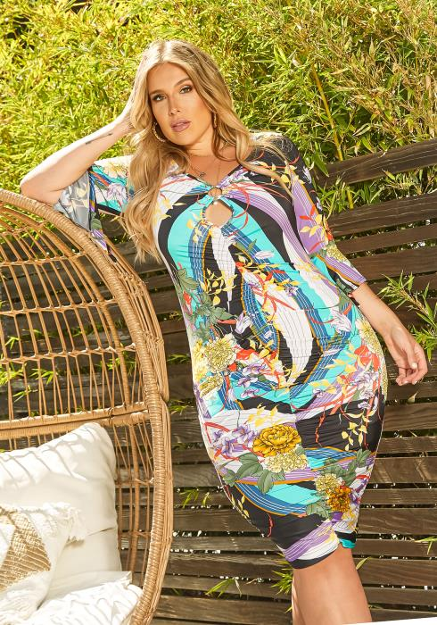 Asoph Plus Size Mood For Paradise Print Ruched Bodycon Mini Dress