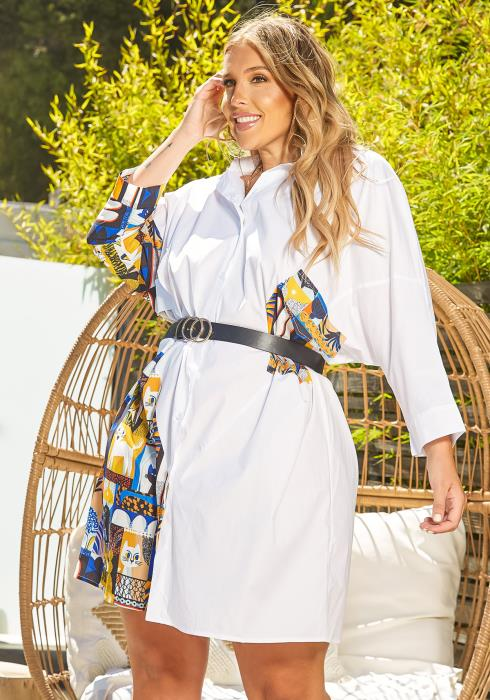 Asoph Plus Size Print Splice Collar Neck Mini Dress