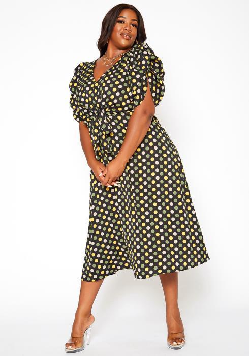 Asoph Plus Size Polka Dot Print Flare Midi Dress
