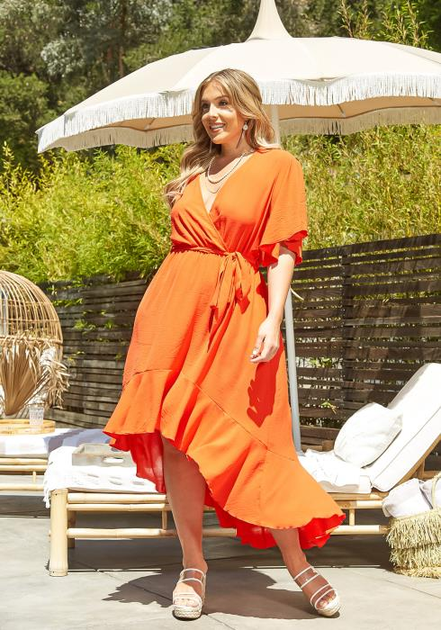 Asoph Plus Size High Low Flare Maxi Dress