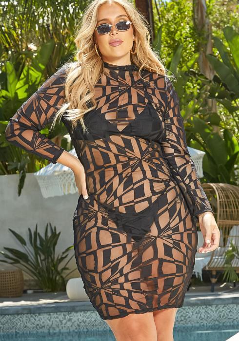 Asoph Plus Size Geometric Mesh Print Cover Up Dress