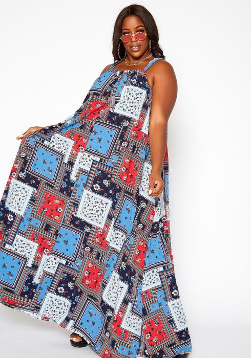 Asoph Plus Size Floral Block Maxi Flare Dress