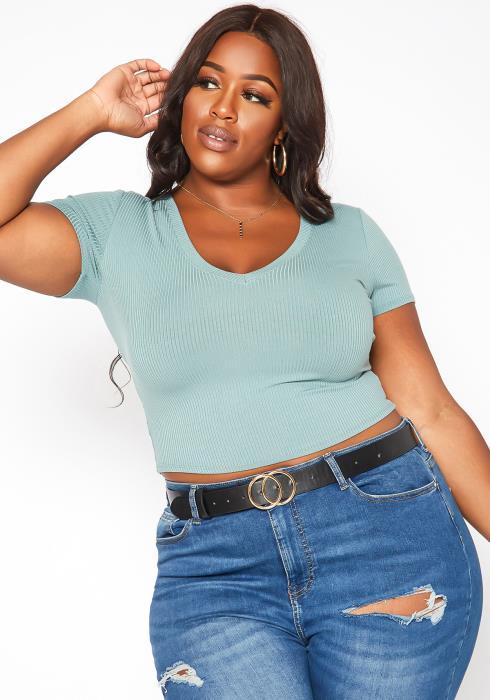 Asoph Plus Size Ribbed Knit V Neck Tee Shirt