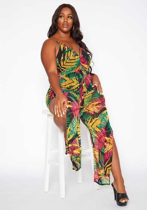 Asoph Plus Size Tropical Leaf Print Flare Jumpsuit