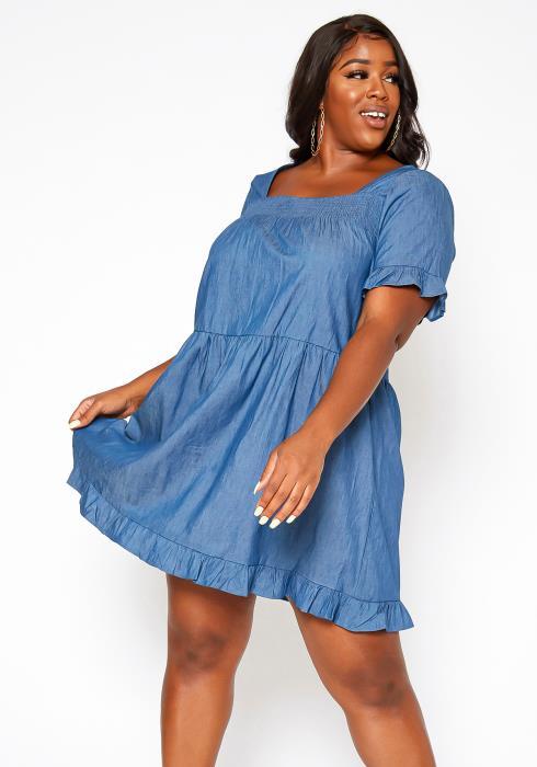 Asoph Plus Size Square Neck Fit & Flare Mini Dress