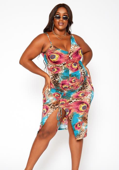 Asoph Plus Size Peacock Print Drawstring Mini Dress