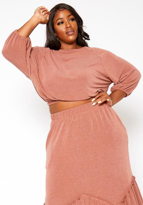 Asoph Plus Size Elastic Waistline Knit Sweatshirt