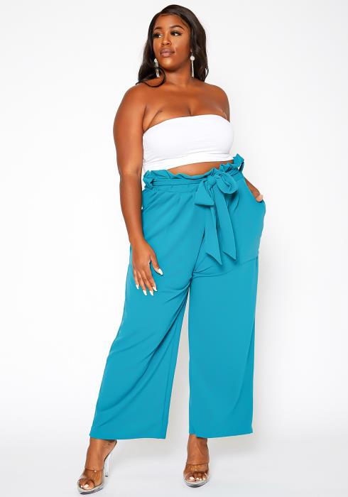 Asoph Plus Size Paperbag Waist Straight Fit Pants