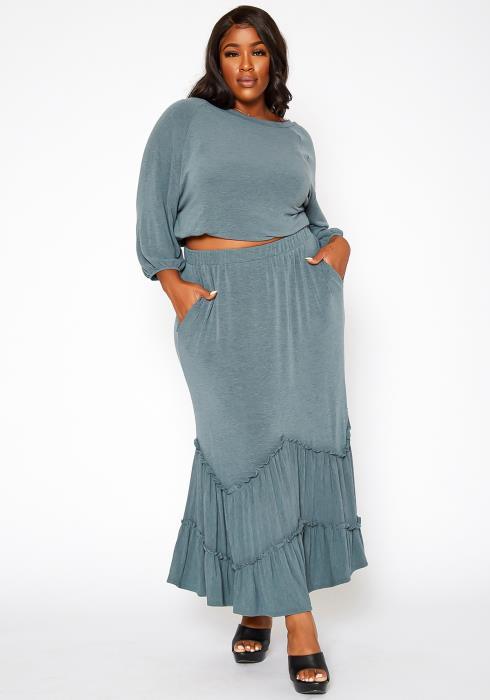 Asoph Plus Size Ruffle Trim Knit Maxi Skirt