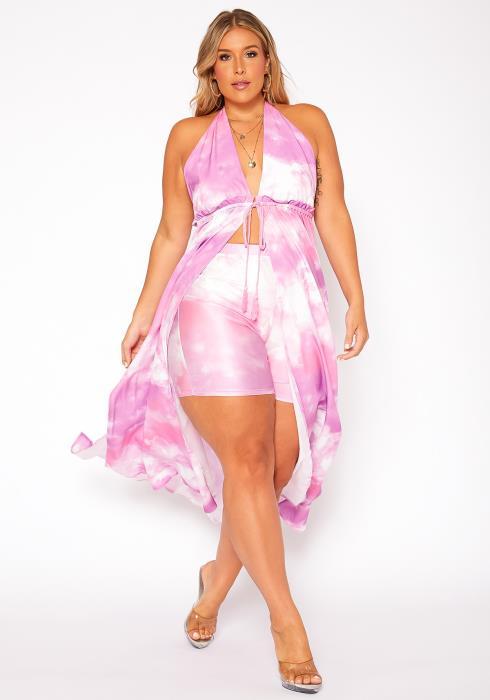 Asoph Plus Size Tie Dye Halter Neck Longline Top & Shorts Set