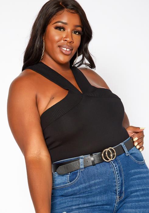 Asoph Plus Size Knit Halter Bodysuit