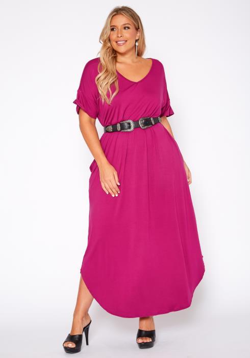 Asoph Plus Size Basic V Neck Maxi Dress