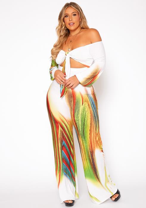 Asoph Plus Size Miami Mood Off Shoulder Flare Jumpsuit