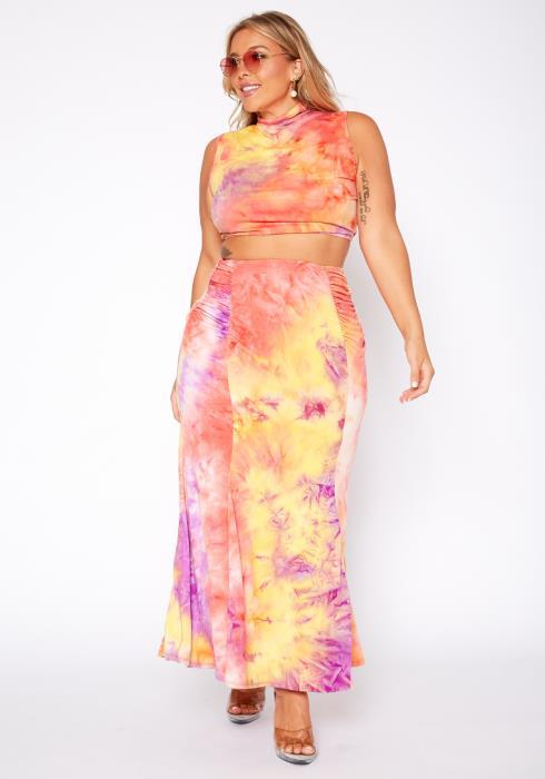 Asoph Plus Size Starburst Tie Dye Two Piece Set