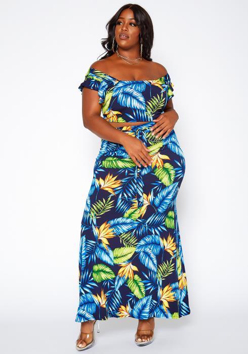 Asoph Plus Size Tropical Leaf Print Two Piece Set