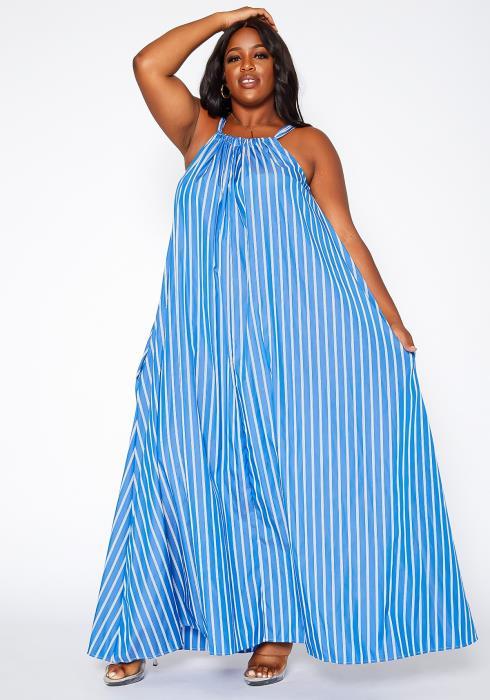 Asoph Plus Size Striped Maxi Flare Dress