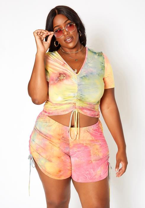 Asoph Plus Size Tie Dye Lounge Two Piece Set