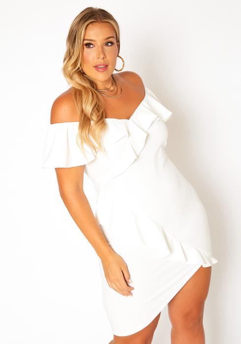 Asoph Plus Size Off Shoulder Ruffle Trim Mini Dress