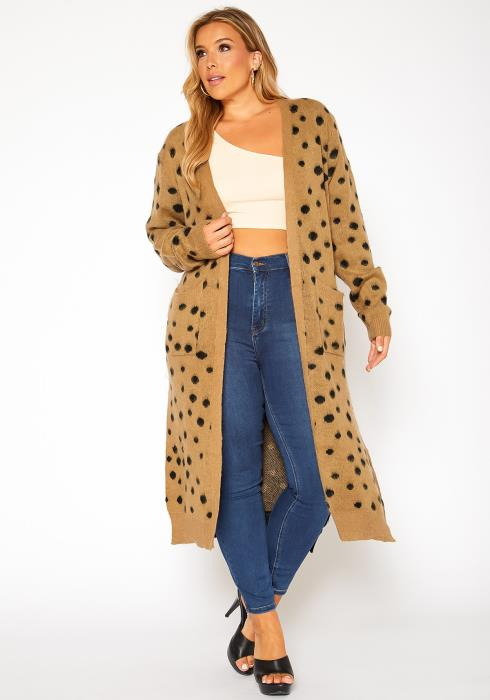Asoph Plus Size Spotted Long Knit Cardigan