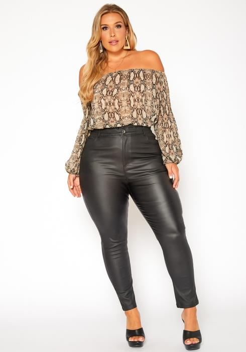 Asoph Plus Size Faux Leather Skinny Jeans