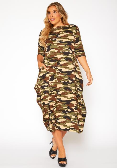 Asoph Plus Size Camo Print Drape Hem Maxi Dress