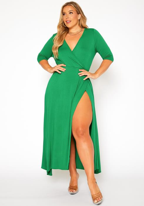 Asoph Plus Size Solid Fit & Flare Maxi Dress