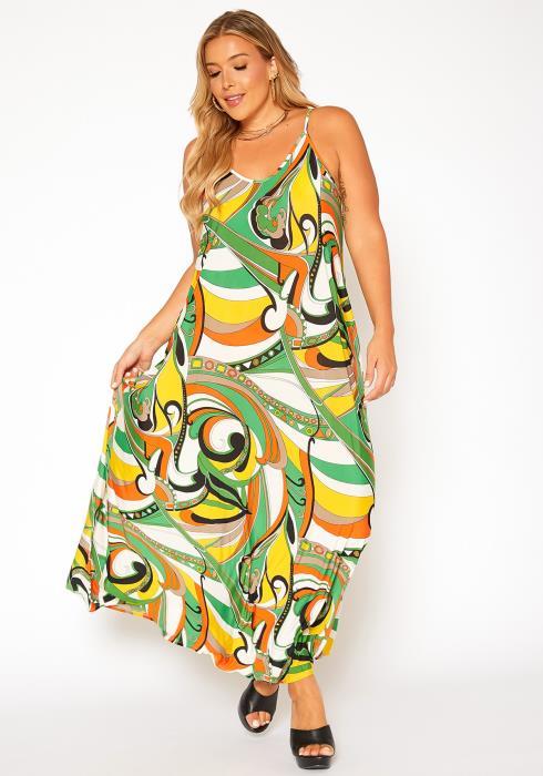 Asoph Plus Size Abstract Print Cami Maxi Dress